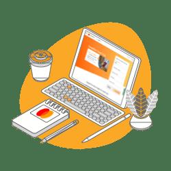 A computer displaying a travel visa partner
