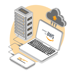 A computer showing AWS a travel visa partner