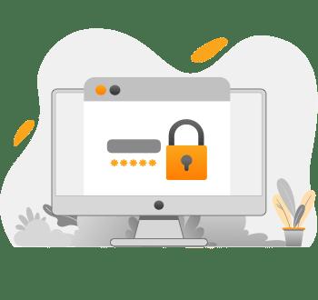 A graphic showing a secure online visa services