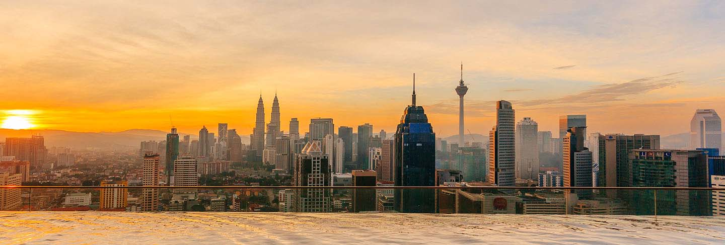 Kuala lumpur cityscape showing petronas twin tower, also known as klcc building