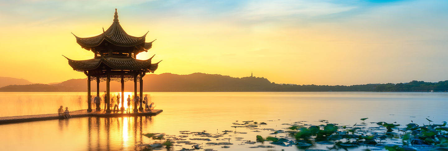 Beautiful architectural landscape and landscape of west lake in hangzhou