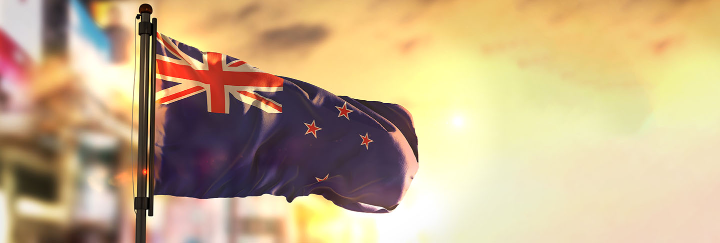 New zealand flag against city blurred background at sunrise
