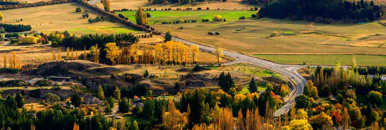 New zealand landscape with farmland