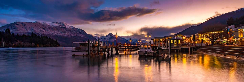 Beautiful sunset sky of port of lake wakatipu south land new zealand