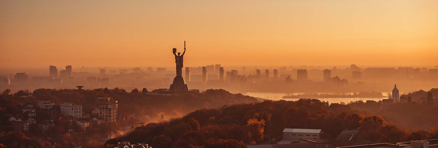 Mother motherland monument at sunset. in kiev, ukraine