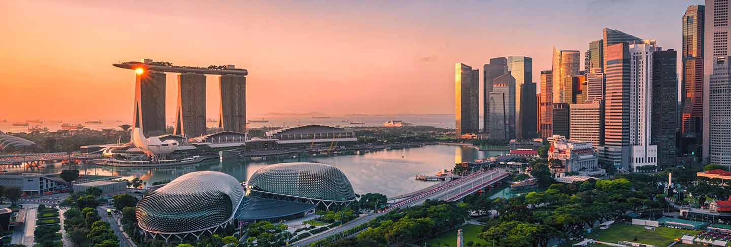 Singapore skyline and view of skyscrapers on marina bay at sunsrise