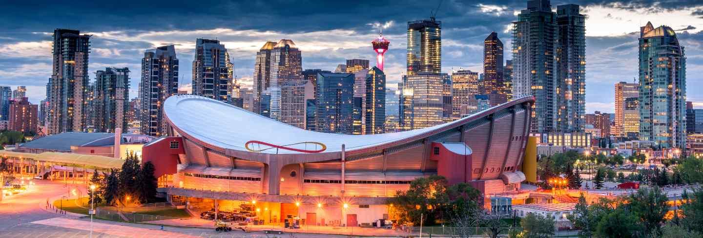 Calgary city skyline at night, alberta, canada