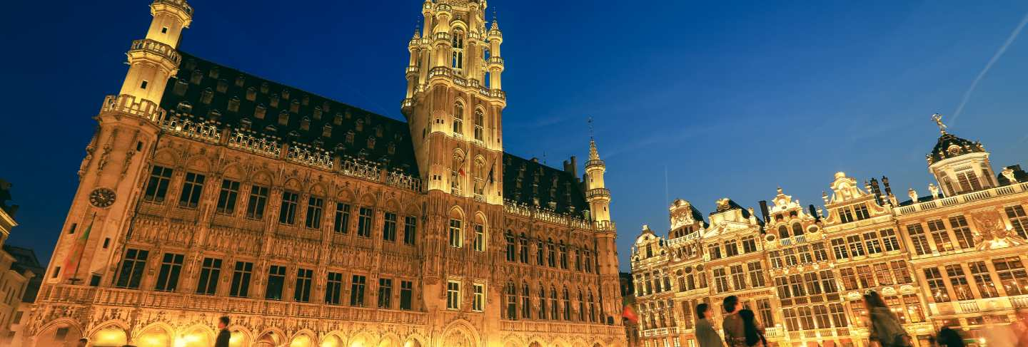 Selective focus on historic building at grand place brussels
