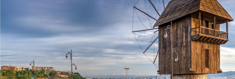 Old windmill in nessebar, bulgaria