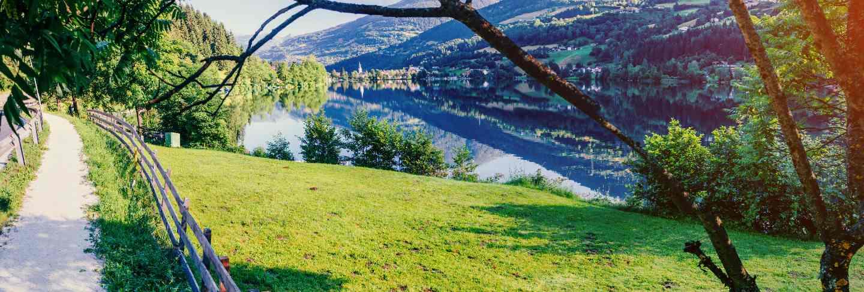 Mountain lake between by mountains. seaside villa. Italy
