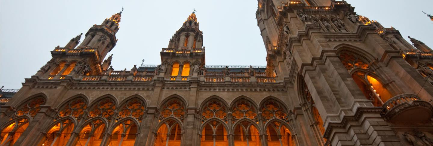 Evening view of town hall in vienna