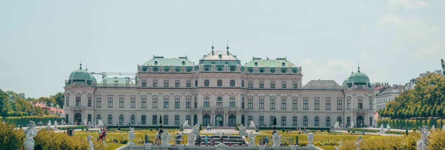 White palace with big garden