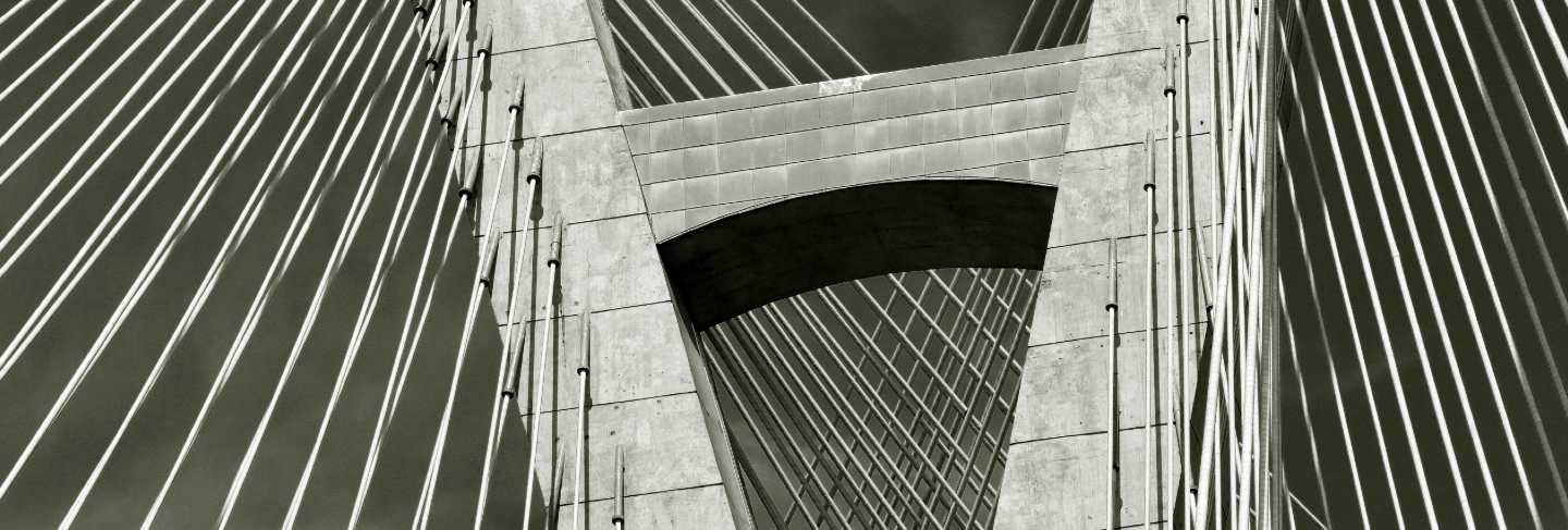 Closeup of cable of stayed bridge