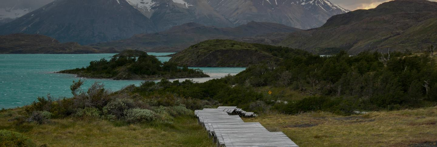 Boardwalk at lake pehoe, torres del paine national park, patagonia, chile