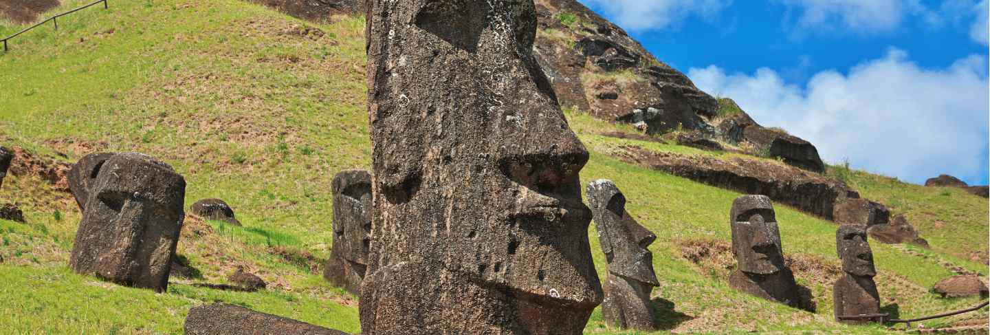 Rapa nui. the statue moai in rano raraku on easter island, chile
