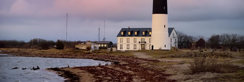 Amazing dusk view of sorve lighthouse on island saaremaa