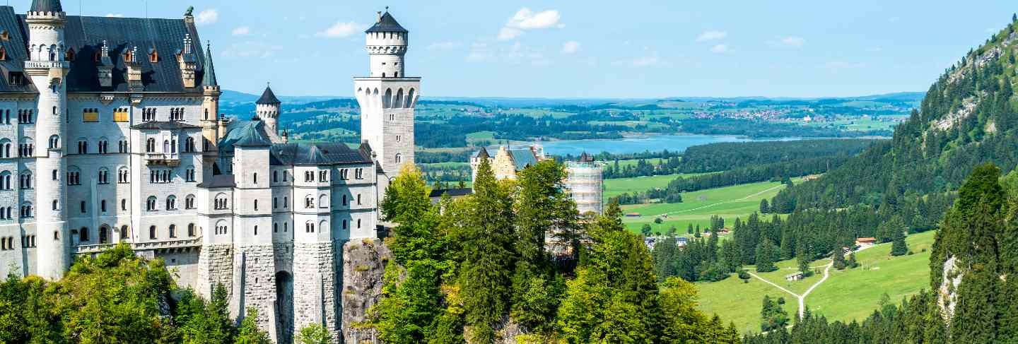 Beautiful architecture at neuschwanstein castle in the bavarian alps of germany