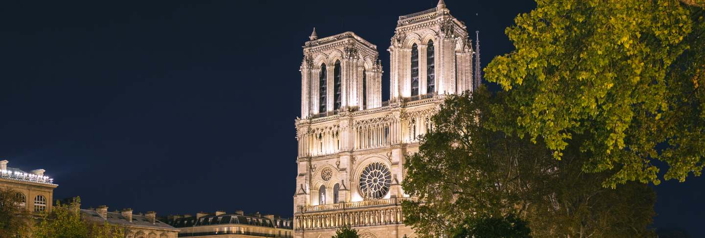 Notre-dame cathedral at night in paris, france