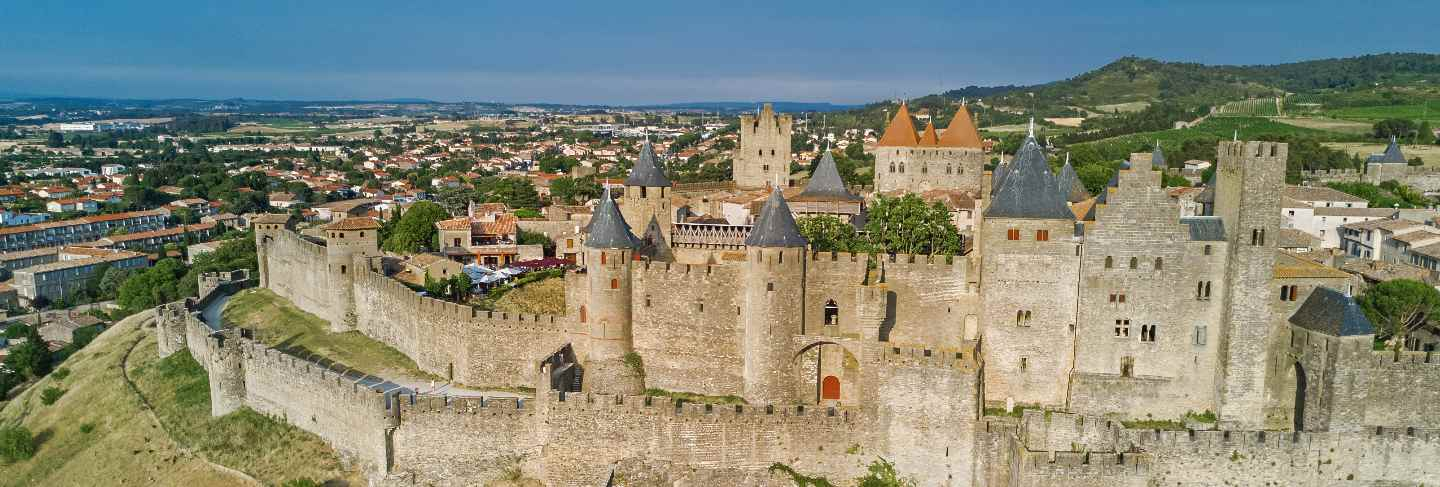 Aerial view of carcassonne medieval city and fortress castle