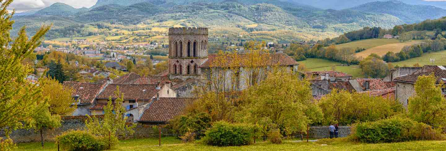 Roman church in the pyrenees mountains in france