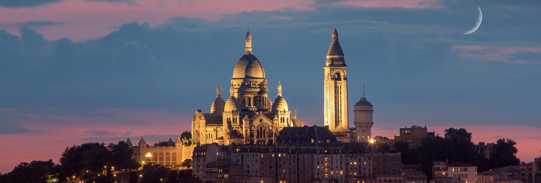 Basilica of sacre coeur at night, paris, france