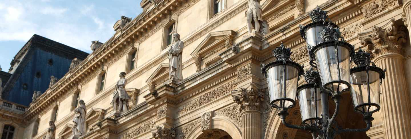 Renaissance architecture and street lamp at the louvre museum in paris