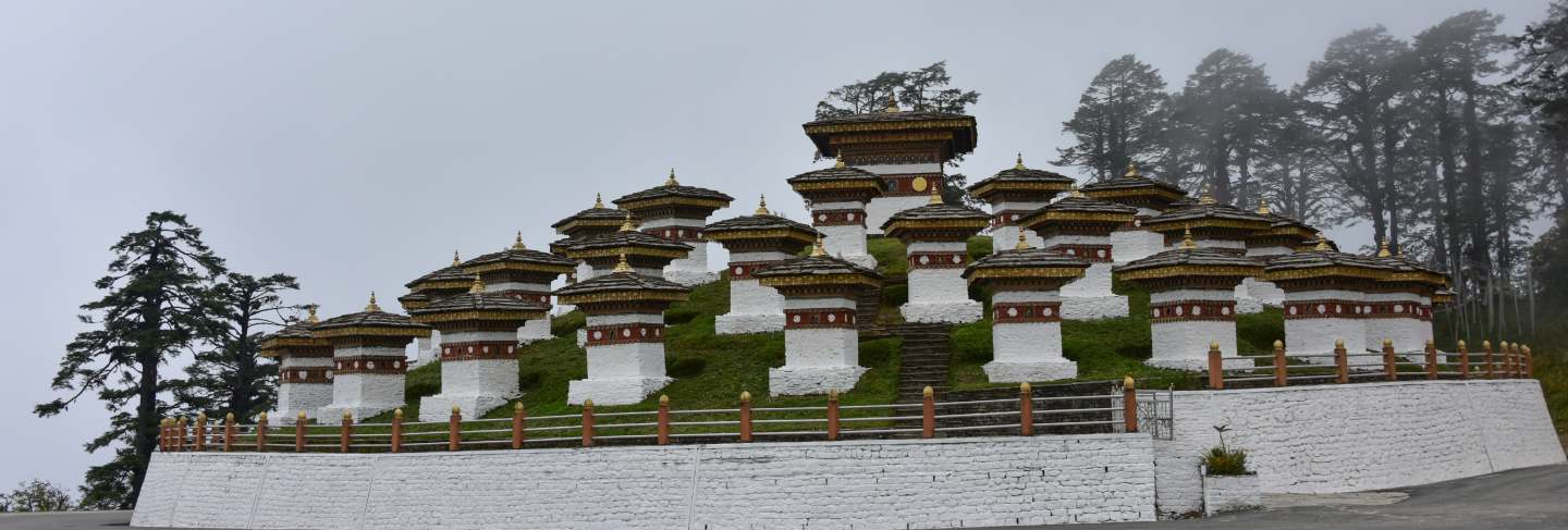 View of the druk wangyal chortens, dochula pass, bhutan