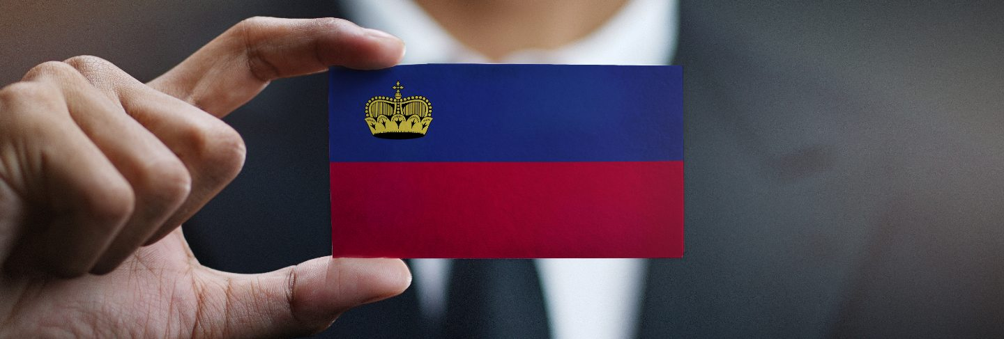 Businessman holding card of liechtenstein flag