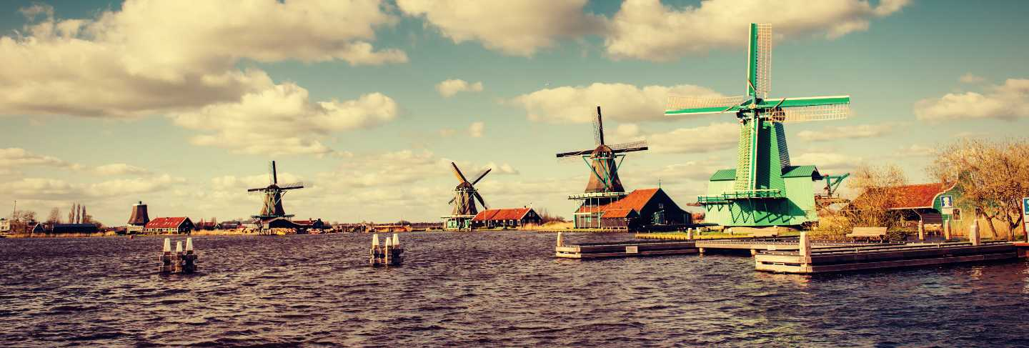 Traditional dutch windmills from the channel rotterdam. Holland