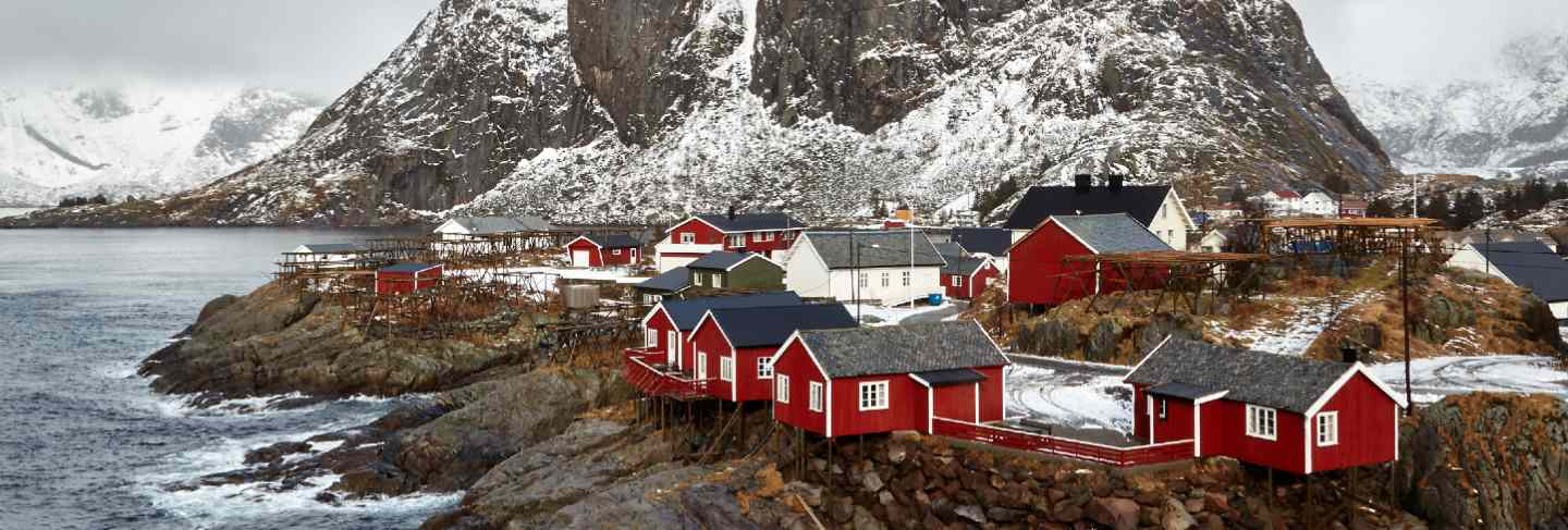 A famous tourist attraction is the fishing village of hamnoy on the lofoten islands