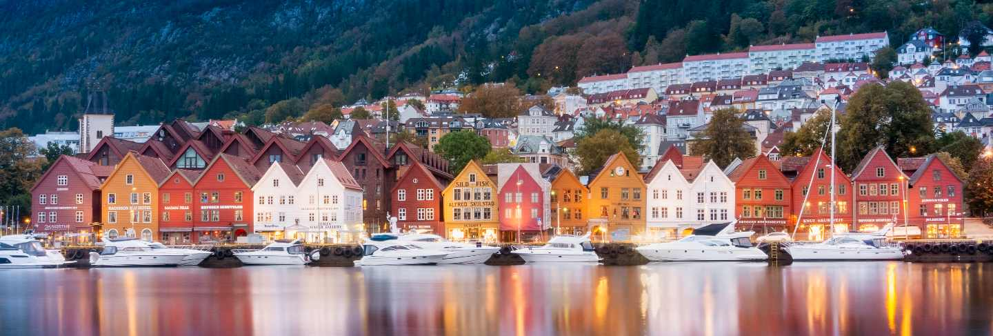 Historical building of bergen at morning , unesco world cultural heritage site