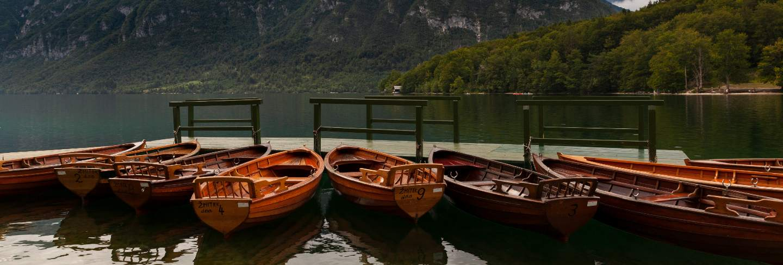 View of wooden boats, bohinj