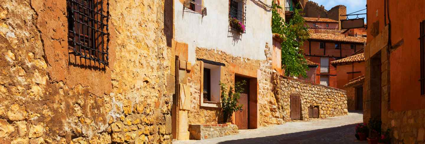 Sunny street of spanish town in summer
