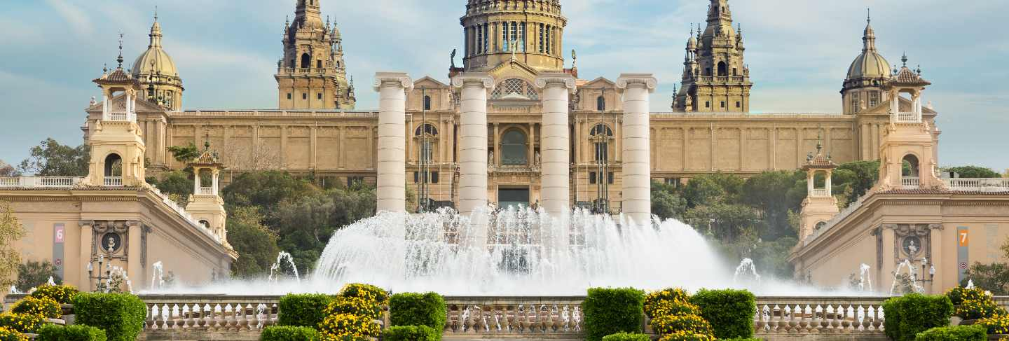 Barcelona placa de espanya, the national museum with magic fountain in afternoon at barcelona