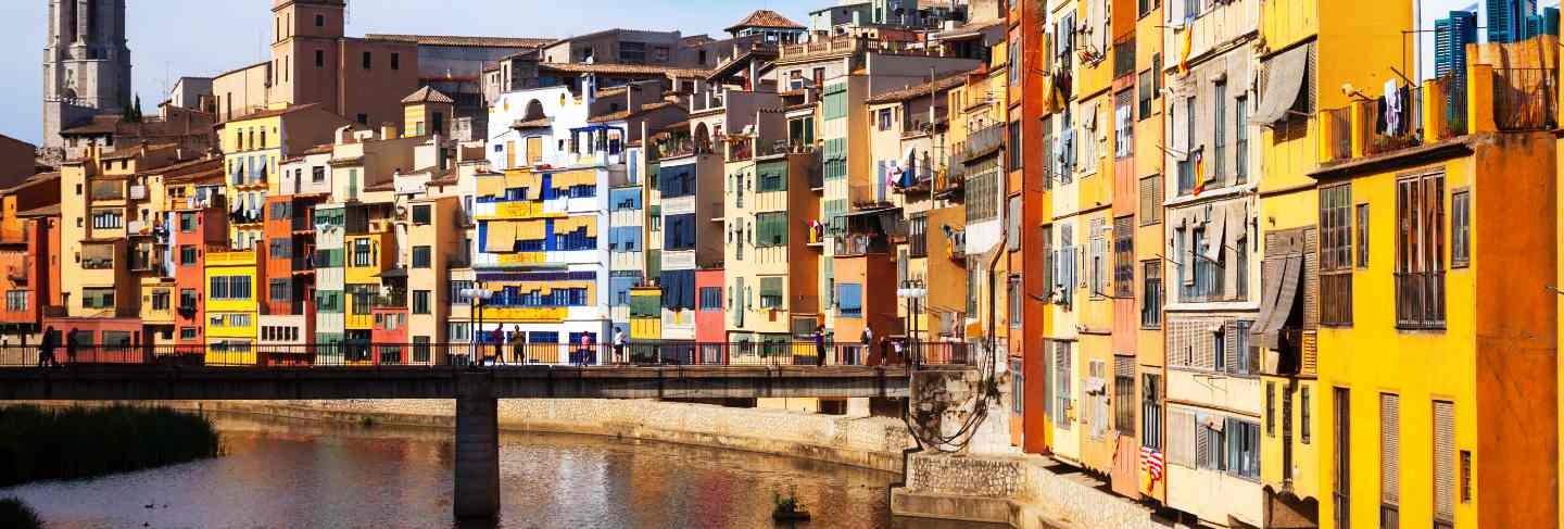 View of river and houses in girona