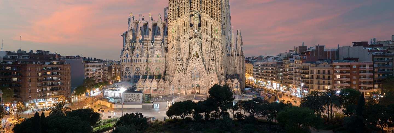 Aerial view of the sagrada familia, a large roman catholic church in barcelona