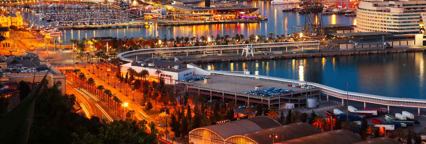 Port in barcelona during evening
