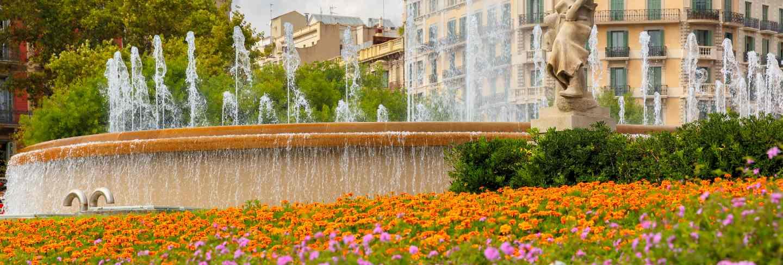 Fountain at catalonia square in barcelona, spain