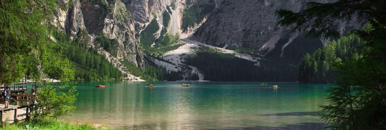 Boats on braies lake in trentino alto adige,italy