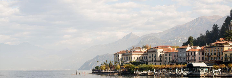 Bellagio skyline italy. como lake. morning.