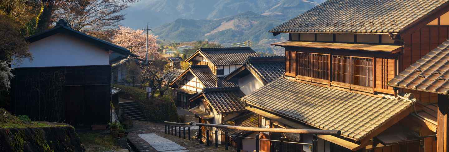 Magome juku preserved town at sunrise, kiso