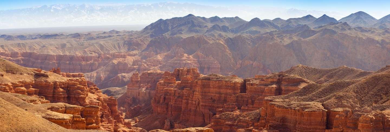 Charyn canyon in almaty region of kazakhstan. beautiful mountain landscape