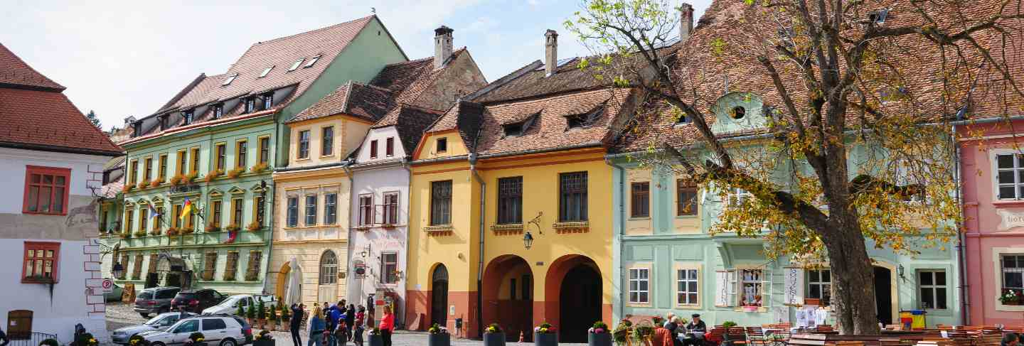 Modern streets of sighisoara, romania