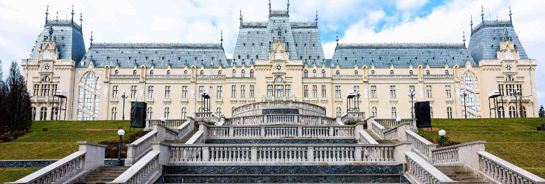 Stefan cel mare palace in iasi, art and culture museum, romania, blue sky