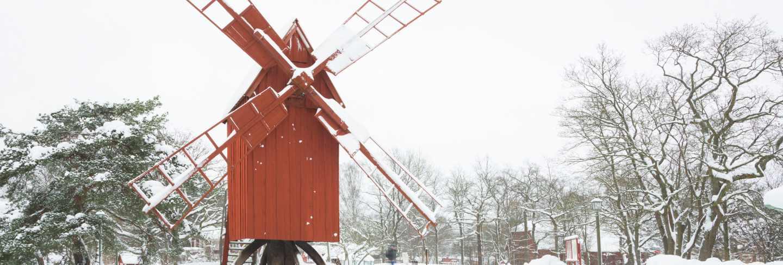 Winter windmill landscape