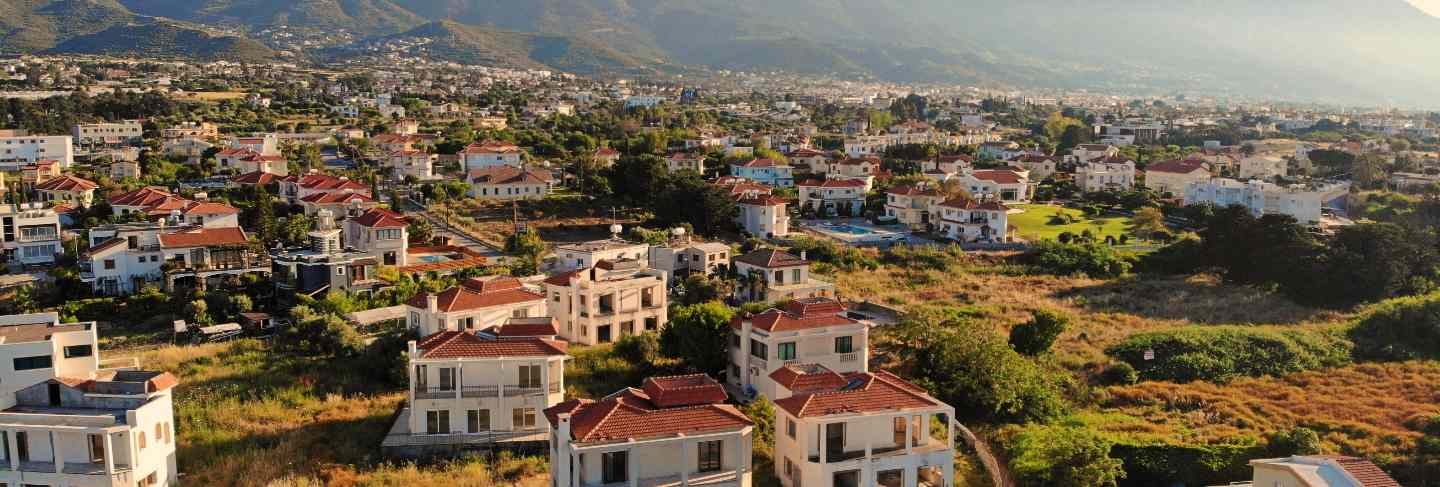 Great aerial view on cyprus. aerial view from drone. summertime vacation, happy life. mountains and sea