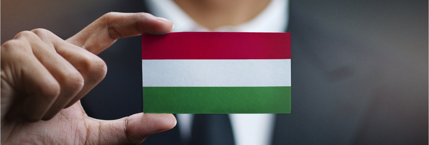 Businessman holding card of hungary flag