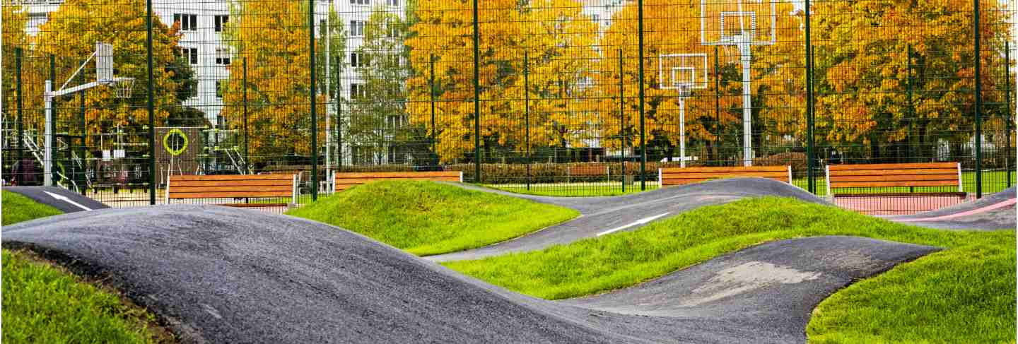 Bicycle track road located in city playground