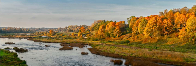 Autumn river valley landscape. latvia, kuldiga. Europe