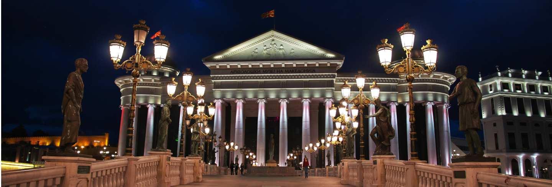 Night at skopje in macedonia